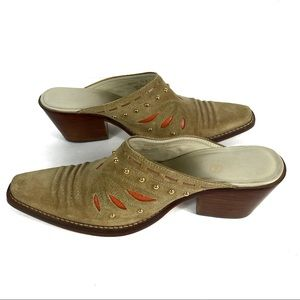 Cole Haan Cowgirl Suede Mules Size 7 1/2 B